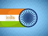 Indian Independence Day celebrations concept with Ashoka Wheel and national flag on blue background.