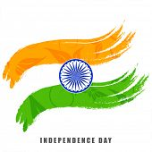Indian Independence Day celebrations concept with national flag colors with ashoka wheel on white background.