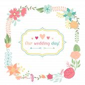 Wedding invitation card with pretty stylized flowers.