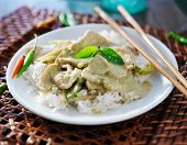 thai green curry with chicken on jasmine rice