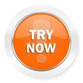try now orange computer icon