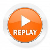 replay orange computer icon