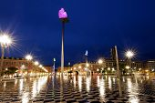 A rainy night in Nice, France.  Place Massena,