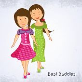 Cute happy girls on grey background for Happy Friendship Day celebrations.
