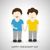 Cute little boys holding hands on shiny grey background for Happy Friendship Day celebrations.