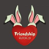 Happy Friendship Day celebrations concept with cute little bunnies and red heart shape on grey backg