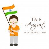 Cute little boy holding Indian national flag on occasion of 15th of August, Indian Independence Day
