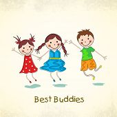 Happy cute little friends on beige background for Friendship Day celebrations concept.