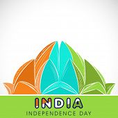 Indian famous monument Lotus Temple in national tricolors on grey background for Indian Independence