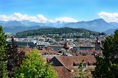 LUCERN, SWITZERLAND - JULY 3, 2014: Overview of Lucern, Switzerland. From the Musegg Wall you get a