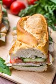 Baguette Sandwich with Lettuce,  Fresh Tomatoes, Ham, Turkey Breast and Cheese