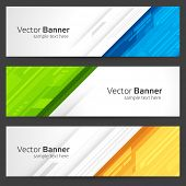 foto of colorful banner  - Abstract trendy vector banner or header set - JPG