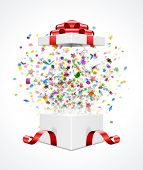 Gift box open and with red bow and ribbon vector illustration. Fireworks sparkles and confetti.