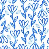 Hand drawn  blue floral seamless pattern. Watercolor painting in vector format.