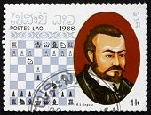 Postage Stamp Laos 1988 Ruy Lopez De Segura, Chess Champion