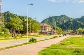 RURRENABAQUE, BOLIVIA, MAY 10, 2014 - Riverbank promenade (Beni river shore) with benches