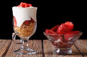 Yogurt With Strawberries And Cornflakes Horizontal. Low Key