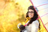 Cheerful Fashion Woman With Umbrella Enjoying Autumn