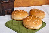 Three Round Sandwich Bun With Sesame Seeds