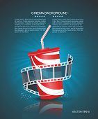 Cinema Roll And Cardboard Cup With A Straw On Blue Defocus Background.