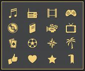 Entertainment vector icon set. Amusement, game and recreation signs and symbols