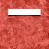 Abstract red mosaic pattern with blank white paper banner with shadow. Vector pattern with paper ban