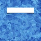 Abstract  blue mosaic pattern with blank white paper banner with shadow. Vector pattern with paper f