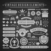 Vintage vector design elements. Retro chalk style golden typographic labels, tags, badges, stamps, arrows and emblems set.