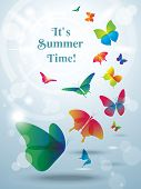 Greeting card with butterflies. Summer background.