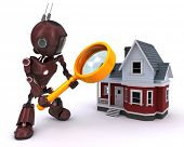 3D Render of an Android searching for a house