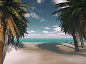 3D render of a tropical island with palm trees