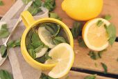 hot tea with mint and lemon