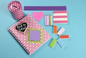 Back To School Bright Pink, Polka Dot And Colorful Stationery And Office Supplies With Money Savings