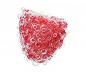 Beautiful raspberry in water with bubbles, isolated on white