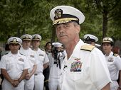 NEW YORK - MAY 23, 2014: A portrait of Rear Admiral Scott A. Stearney standing in front of US Navy o