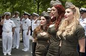 NEW YORK - MAY 23, 2014: The American Bombshells sing prior to the ceremony by the fountains at the