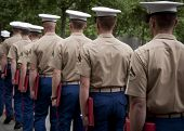 NEW YORK - MAY 23, 2014: A group of U.S. Marines exit in a single file line after taking part in the