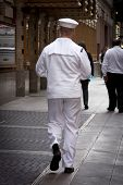 NEW YORK - MAY 23: A US Navy sailor on liberty walks in midtown Manhattan near Times Square during F