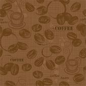 Seamless pattern with coffee beans, hand-drawn illustration.