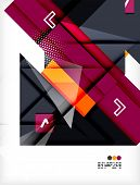 Hi-tech modern design template - futuristic modern straight geometric lines and shapes in glossy 3d