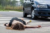 picture of blood drive  - Horizontal view of car hit young woman - JPG