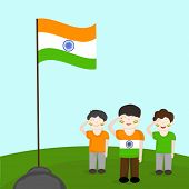 Cute little boys saluting Indian national flag on nature background.