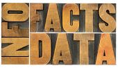 information, data, facts word abstract - isolated text in vintage letterpress wood type printing blo