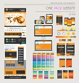 One page website flat UI UXdesign template. It include a lot of flat stlyle icons, forms, header, fo