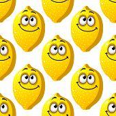 Seamless pattern of smiling yellow lemons