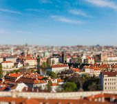 Aerial view of Prague from Prague Castle with tilt shift toy effect shallow depth of field. Prague,