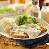 picture of southern fried chicken  - country fried steak with southern style peppered milk gravy - JPG