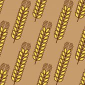 Seamless pattern of wheat ears