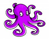 Bright purple cartoon octopus