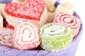 Tasty Turkish delight in present box close up